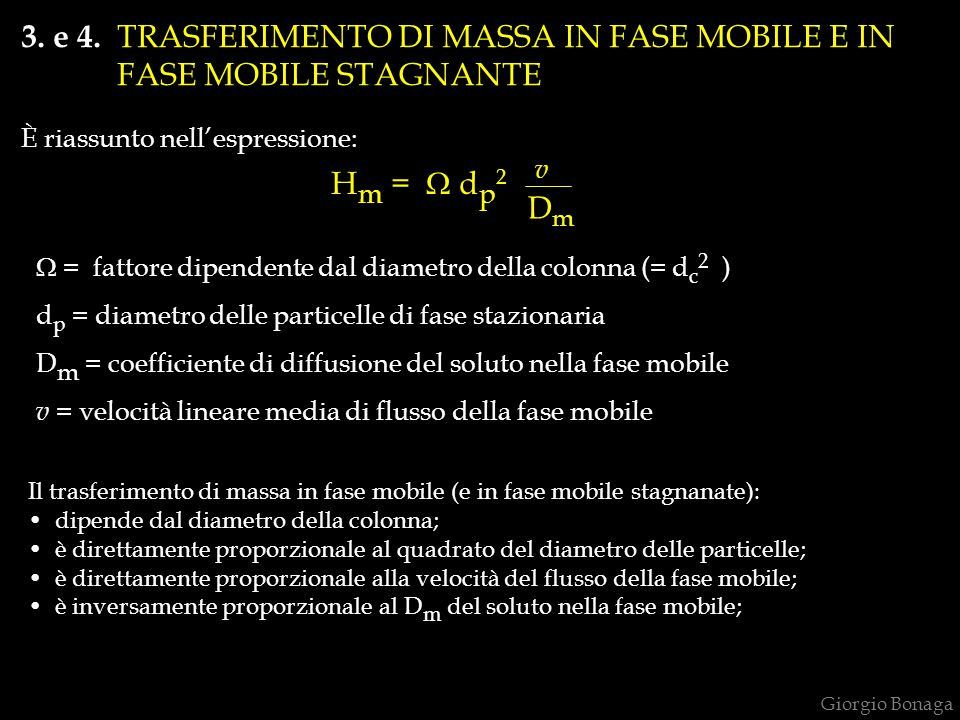 3. e 4. TRASFERIMENTO DI MASSA IN FASE MOBILE E IN