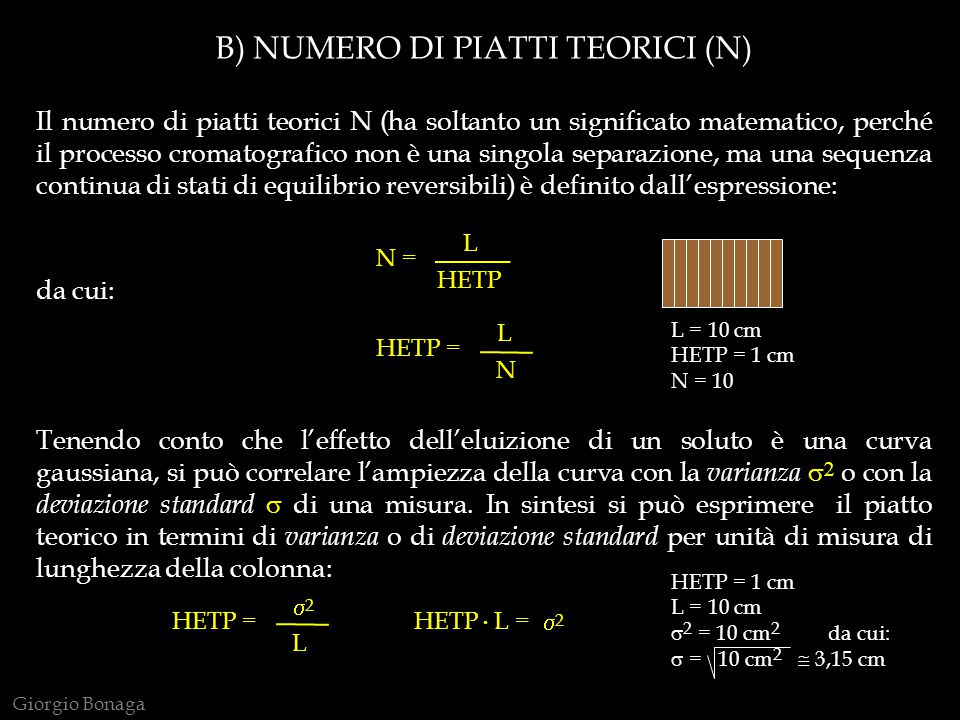 B) NUMERO DI PIATTI TEORICI (N)