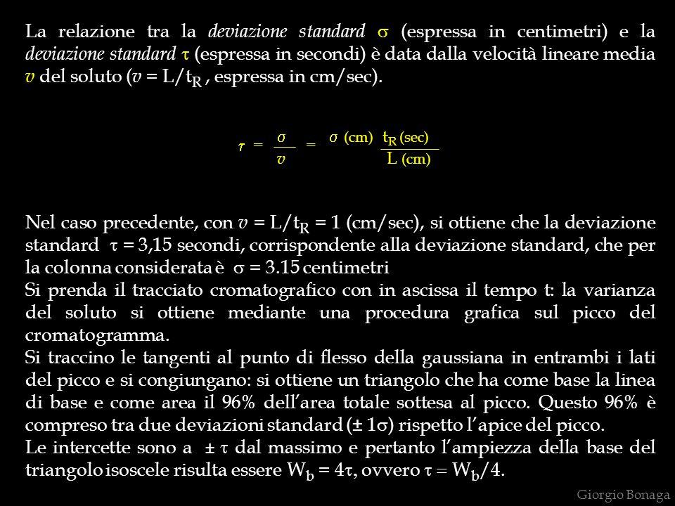 La relazione tra la deviazione standard s (espressa in centimetri) e la deviazione standard t (espressa in secondi) è data dalla velocità lineare media v del soluto (v = L/tR , espressa in cm/sec).