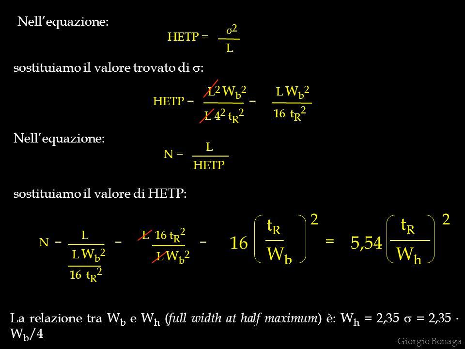 tR tR 16 5,54 Wb Wh 2 2 = Nell'equazione: