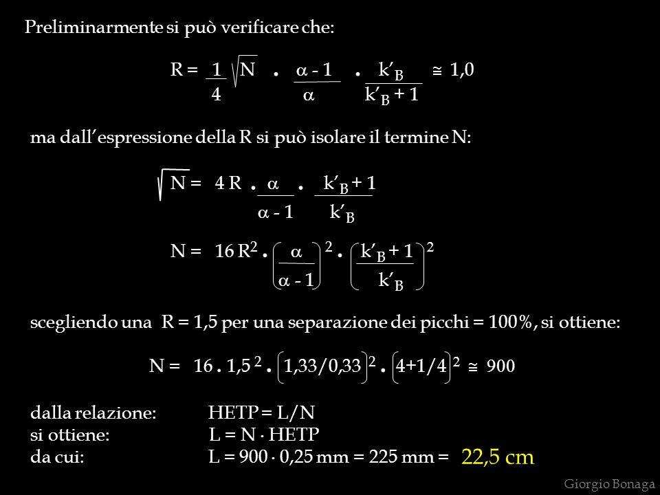 a - 1 k'B 22,5 cm Preliminarmente si può verificare che: