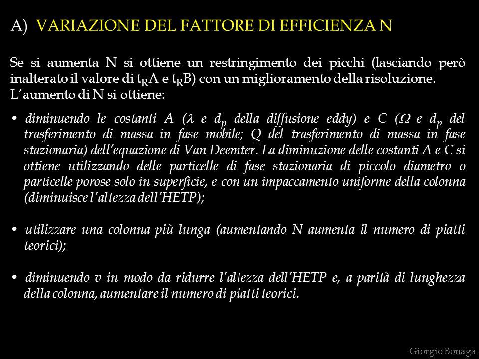 A) VARIAZIONE DEL FATTORE DI EFFICIENZA N