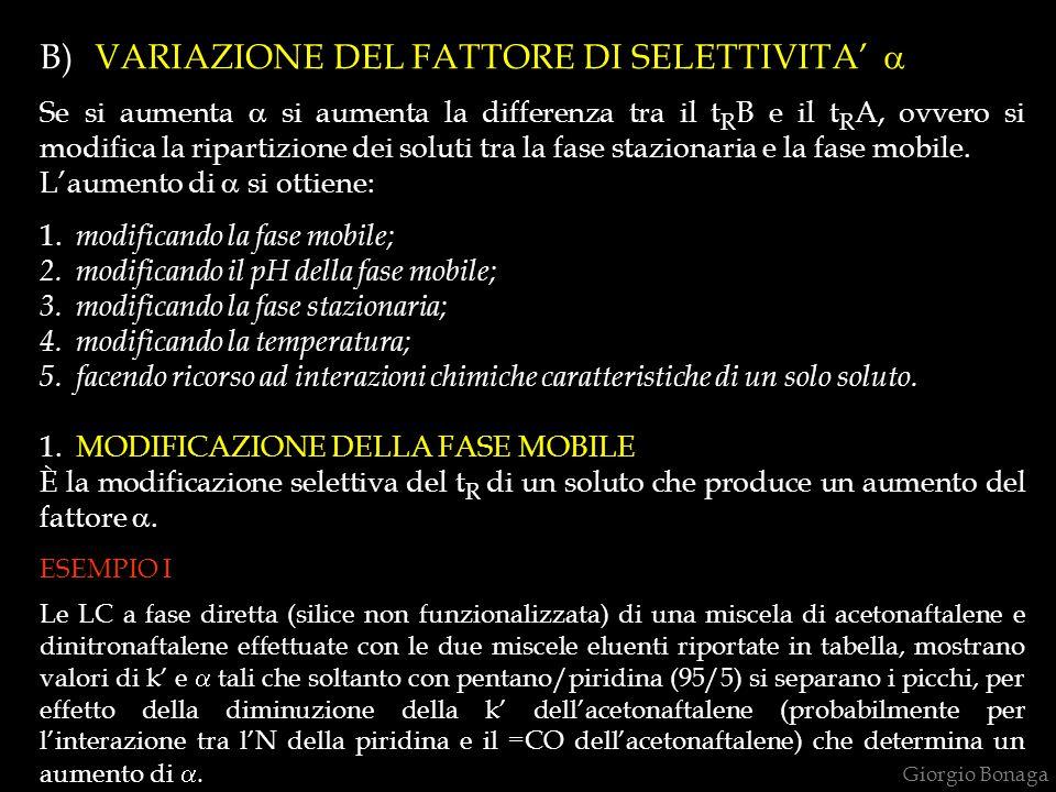 B) VARIAZIONE DEL FATTORE DI SELETTIVITA' a
