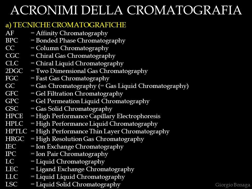 ACRONIMI DELLA CROMATOGRAFIA