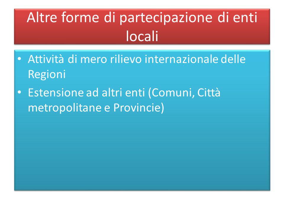 Altre forme di partecipazione di enti locali
