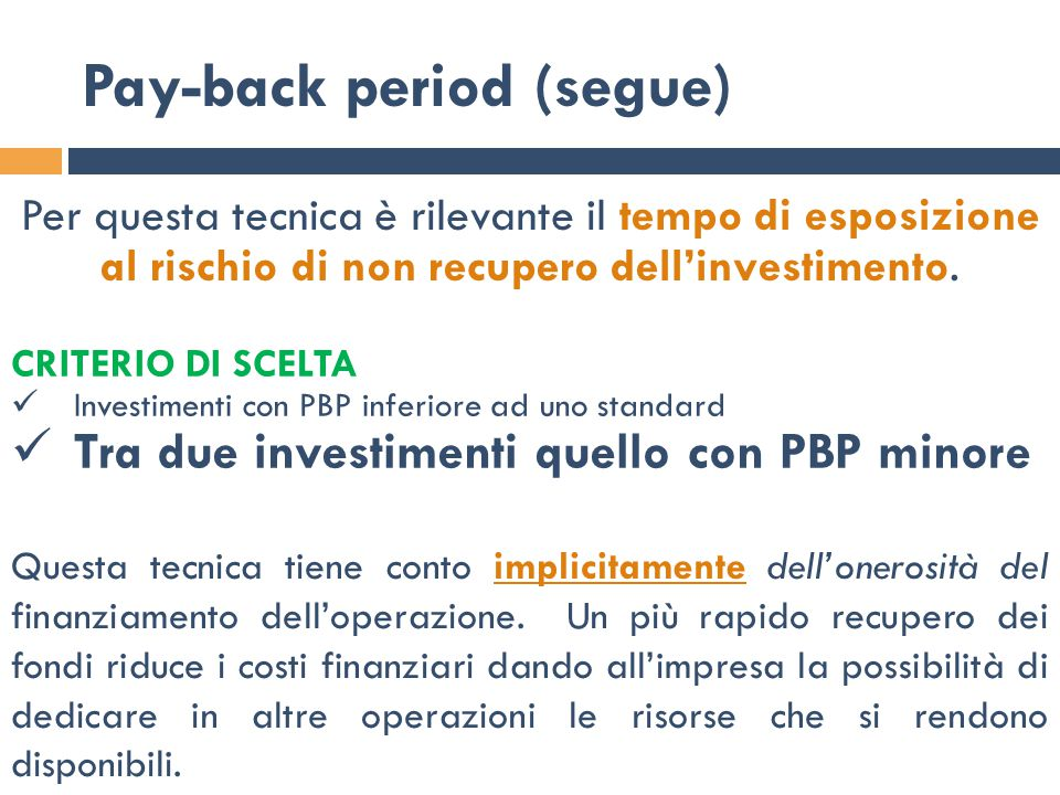 Pay-back period (segue)