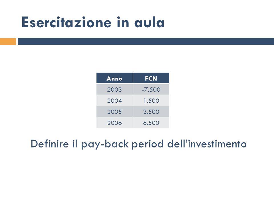 Esercitazione in aula Definire il pay-back period dell'investimento