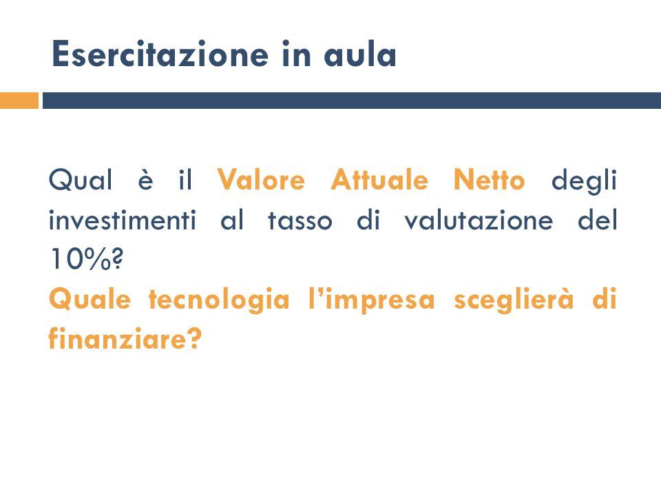 Esercitazione in aula Qual è il Valore Attuale Netto degli investimenti al tasso di valutazione del 10%