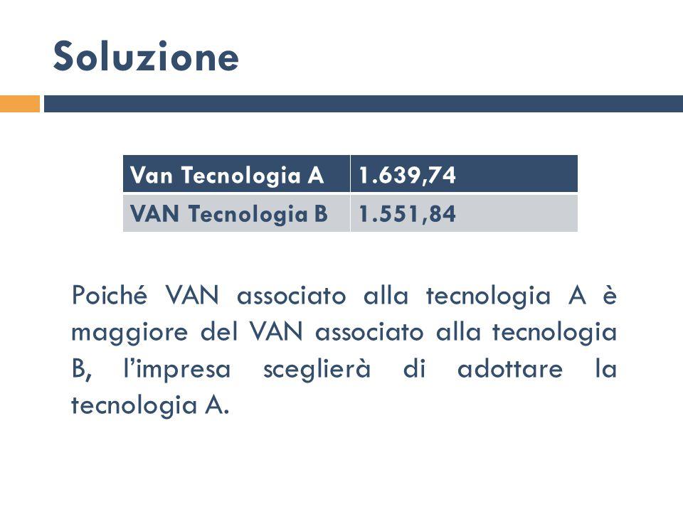 Soluzione Van Tecnologia A. 1.639,74. VAN Tecnologia B. 1.551,84.