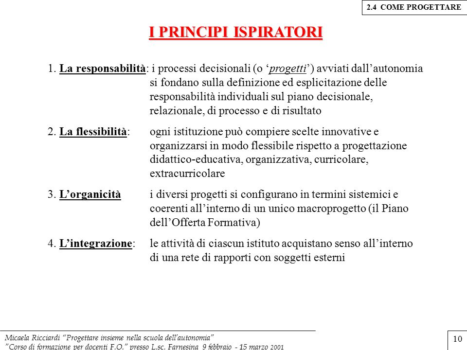 2.4 COME PROGETTARE I PRINCIPI ISPIRATORI.