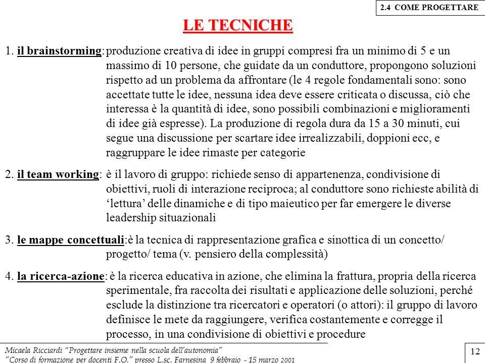 2.4 COME PROGETTARE LE TECNICHE.