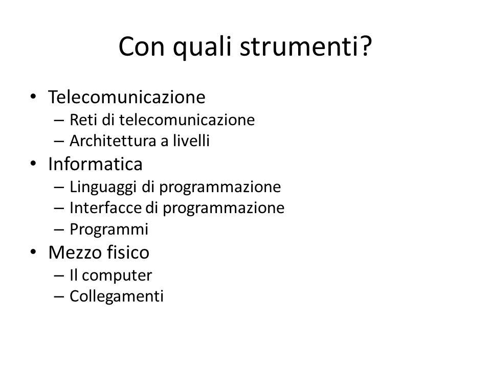 Con quali strumenti Telecomunicazione Informatica Mezzo fisico