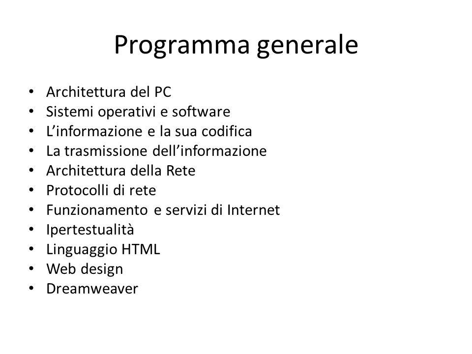 Programma generale Architettura del PC Sistemi operativi e software