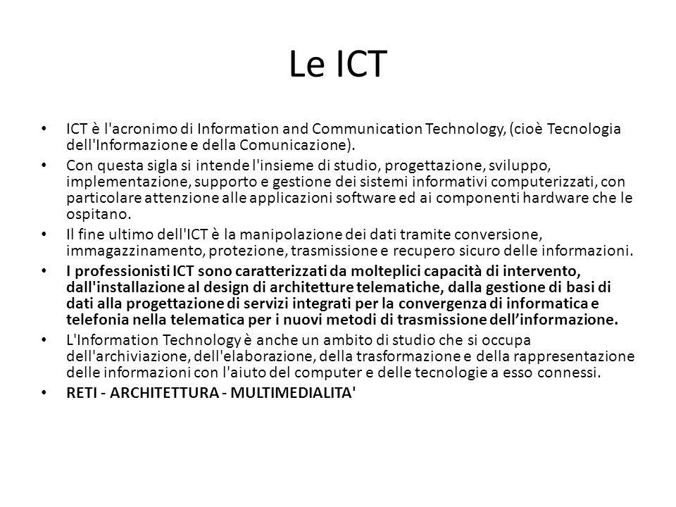 Le ICT ICT è l acronimo di Information and Communication Technology, (cioè Tecnologia dell Informazione e della Comunicazione).