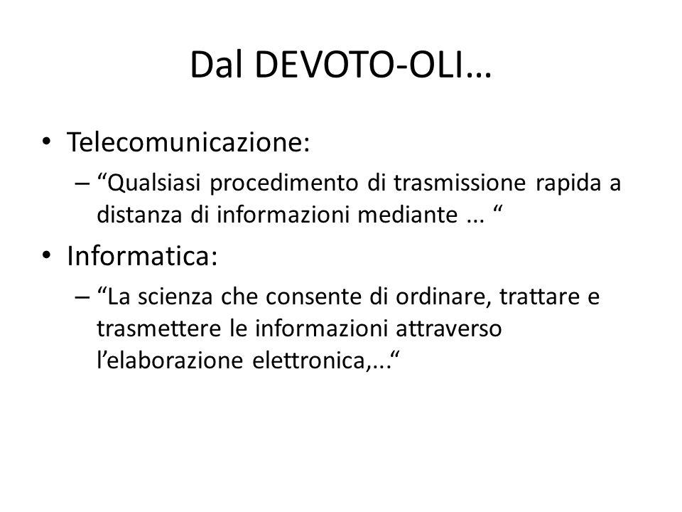 Dal DEVOTO-OLI… Telecomunicazione: Informatica: