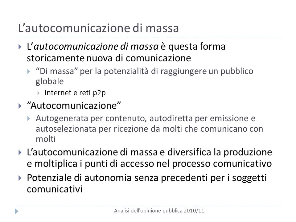 L'autocomunicazione di massa