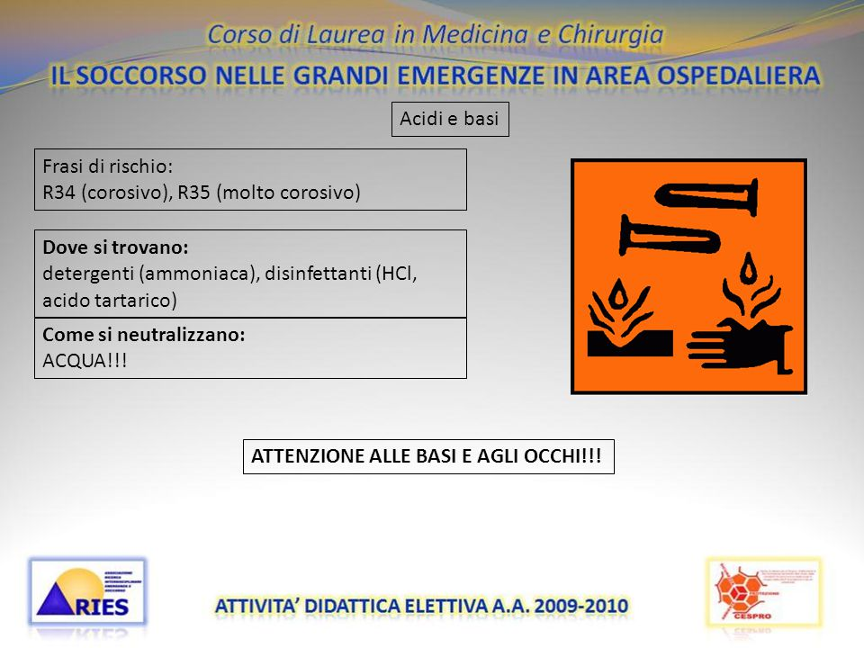 Acidi e basi Frasi di rischio: R34 (corosivo), R35 (molto corosivo) Dove si trovano: detergenti (ammoniaca), disinfettanti (HCl, acido tartarico)