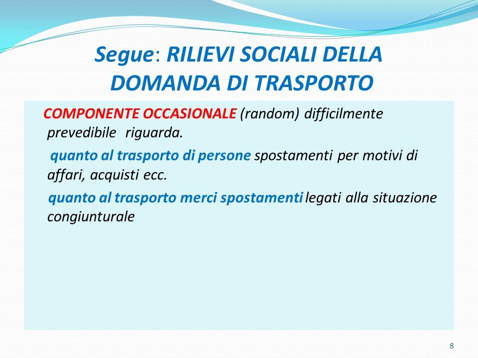 Segue: RILIEVI SOCIALI DELLA DOMANDA DI TRASPORTO