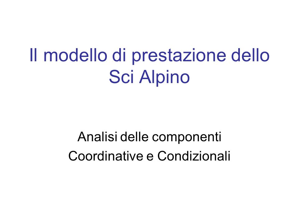 Il modello di prestazione dello Sci Alpino
