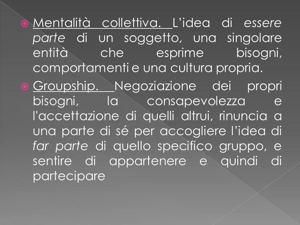 Mentalità collettiva. L'idea di essere parte di un soggetto, una singolare entità che esprime bisogni, comportamenti e una cultura propria.