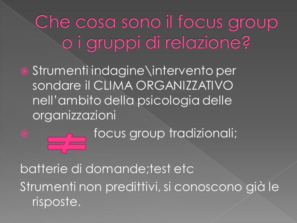 Che cosa sono il focus group o i gruppi di relazione