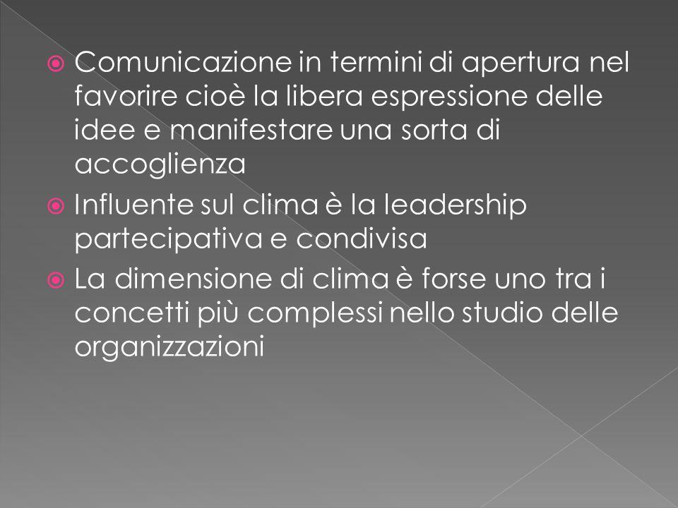 Comunicazione in termini di apertura nel favorire cioè la libera espressione delle idee e manifestare una sorta di accoglienza