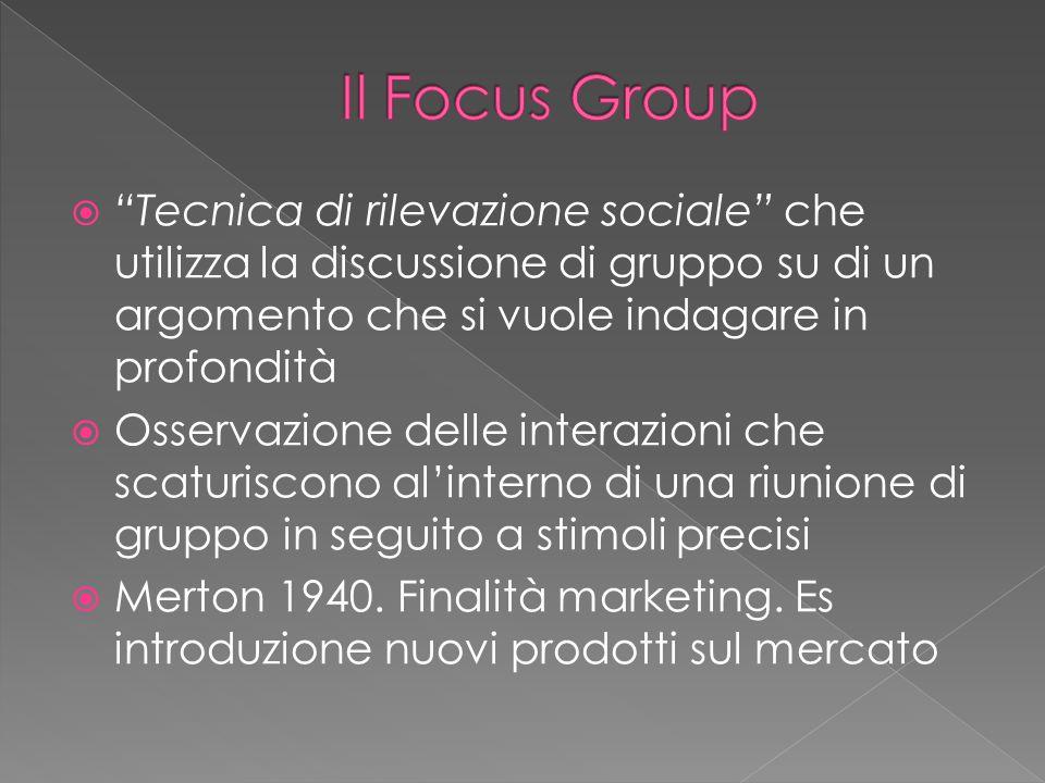 Il Focus Group Tecnica di rilevazione sociale che utilizza la discussione di gruppo su di un argomento che si vuole indagare in profondità.