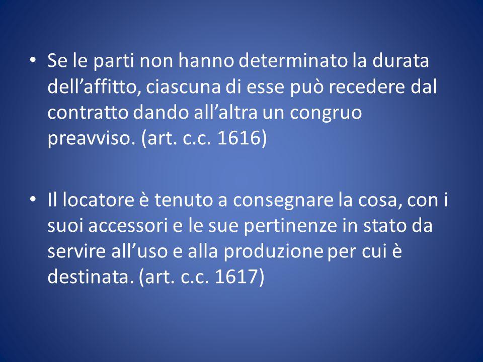 Se le parti non hanno determinato la durata dell'affitto, ciascuna di esse può recedere dal contratto dando all'altra un congruo preavviso. (art. c.c. 1616)