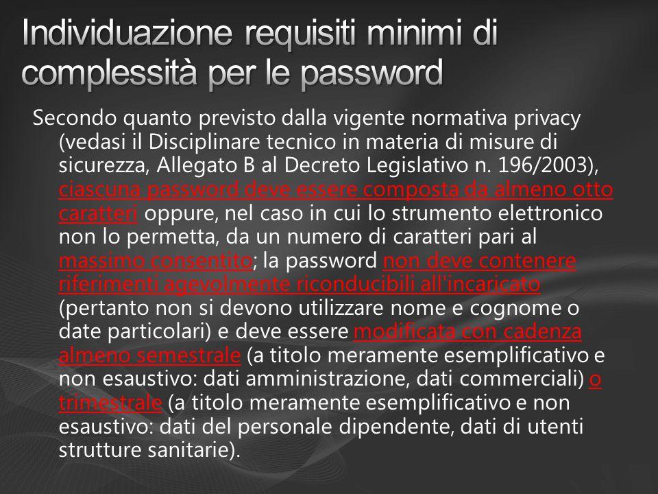 Individuazione requisiti minimi di complessità per le password