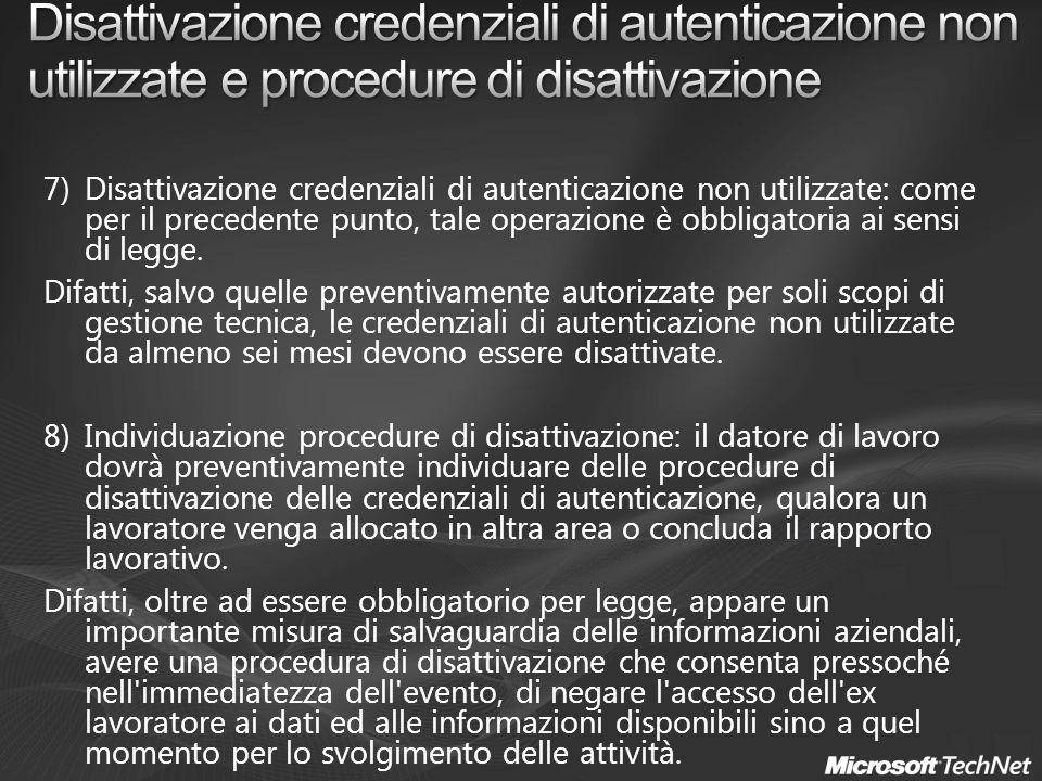 Disattivazione credenziali di autenticazione non utilizzate e procedure di disattivazione