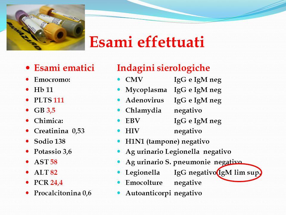 Esami effettuati Esami ematici Indagini sierologiche Emocromo: Hb 11
