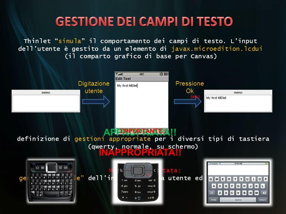 GESTIONE DEI CAMPI DI TESTO