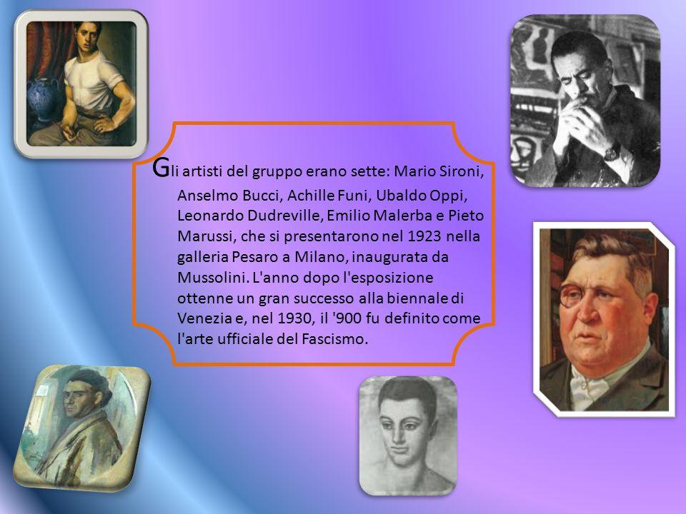 Gli artisti del gruppo erano sette: Mario Sironi, Anselmo Bucci, Achille Funi, Ubaldo Oppi, Leonardo Dudreville, Emilio Malerba e Pieto Marussi, che si presentarono nel 1923 nella galleria Pesaro a Milano, inaugurata da Mussolini.