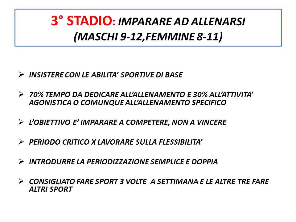 3° STADIO: IMPARARE AD ALLENARSI (MASCHI 9-12,FEMMINE 8-11)