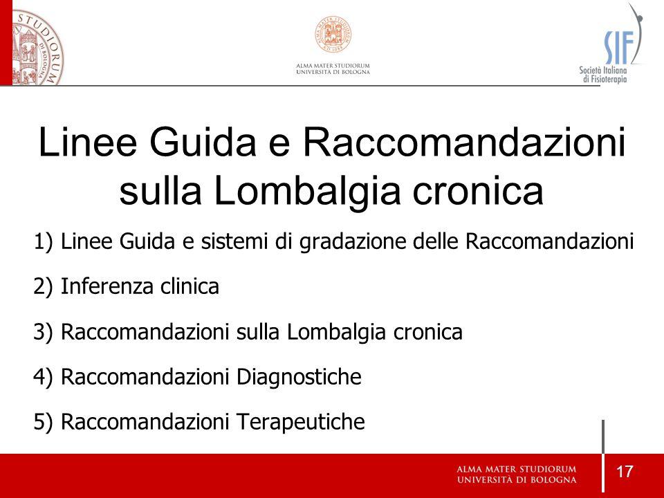 Linee Guida e Raccomandazioni sulla Lombalgia cronica