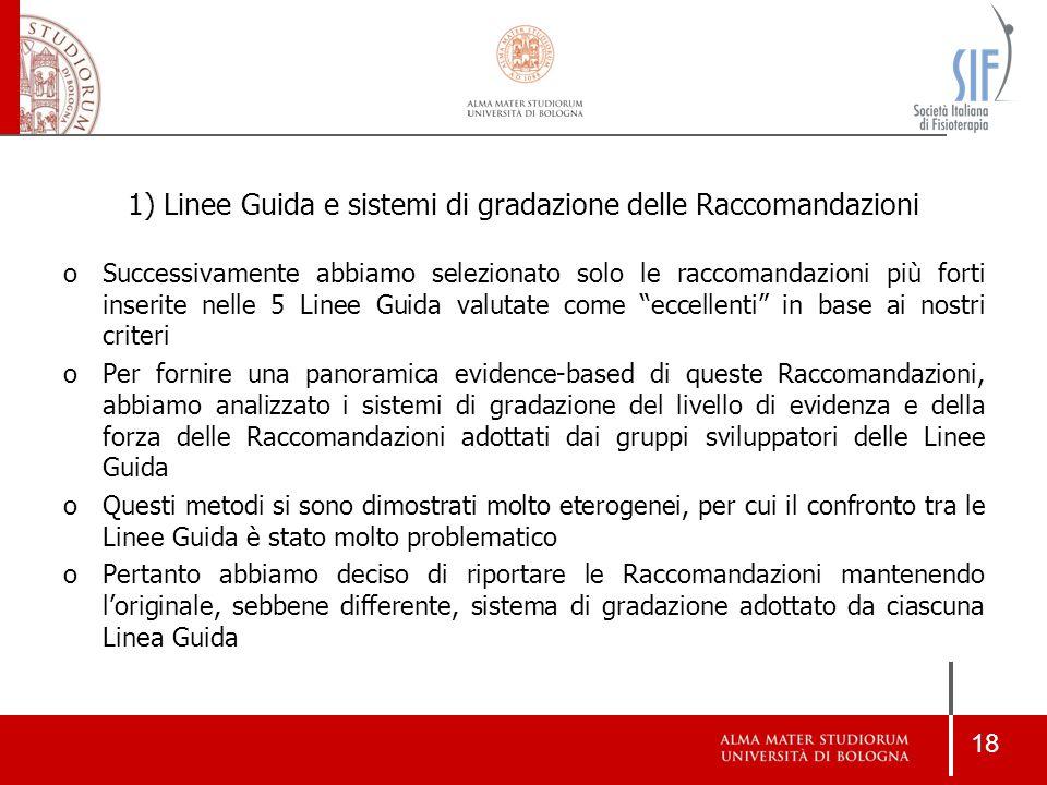 Linee Guida e sistemi di gradazione delle Raccomandazioni