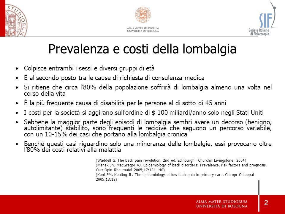 Prevalenza e costi della lombalgia