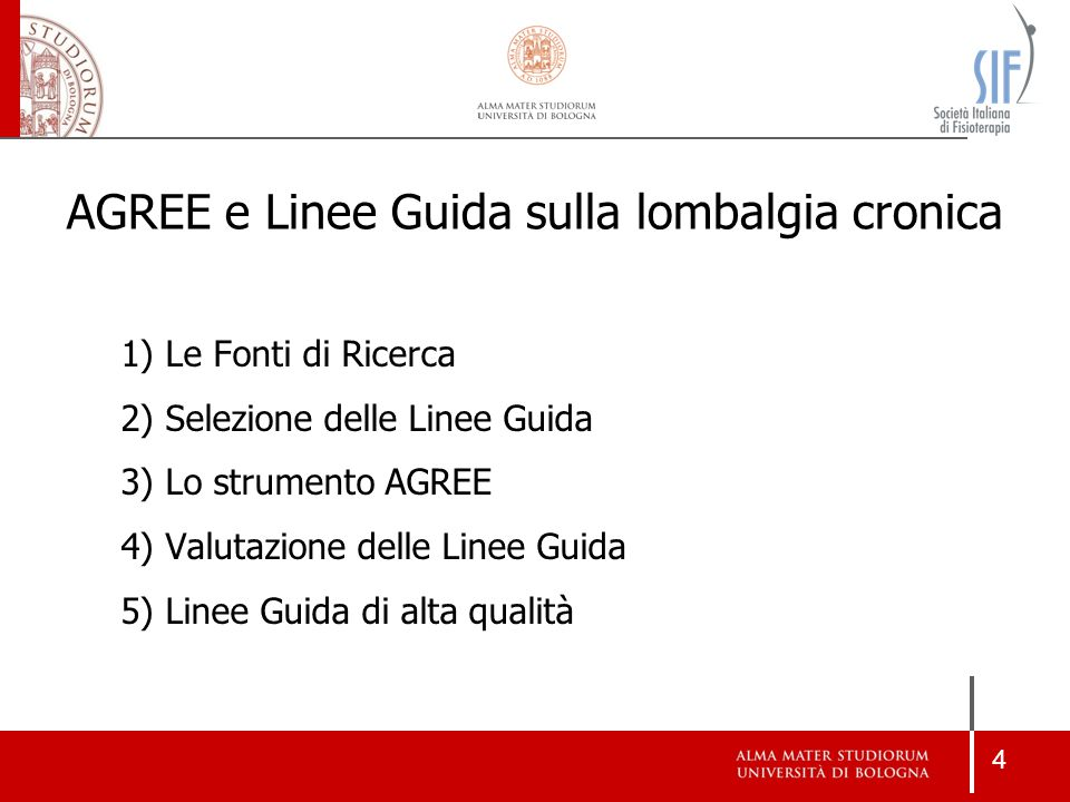 AGREE e Linee Guida sulla lombalgia cronica