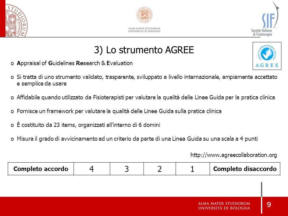 3) Lo strumento AGREE 4 3 2 1 Completo accordo Completo disaccordo