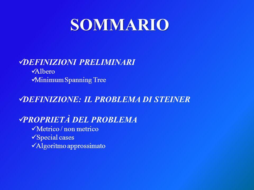 SOMMARIO DEFINIZIONI PRELIMINARI DEFINIZIONE: IL PROBLEMA DI STEINER