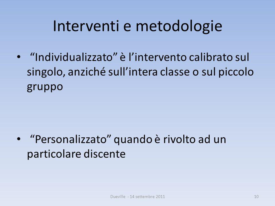 Interventi e metodologie