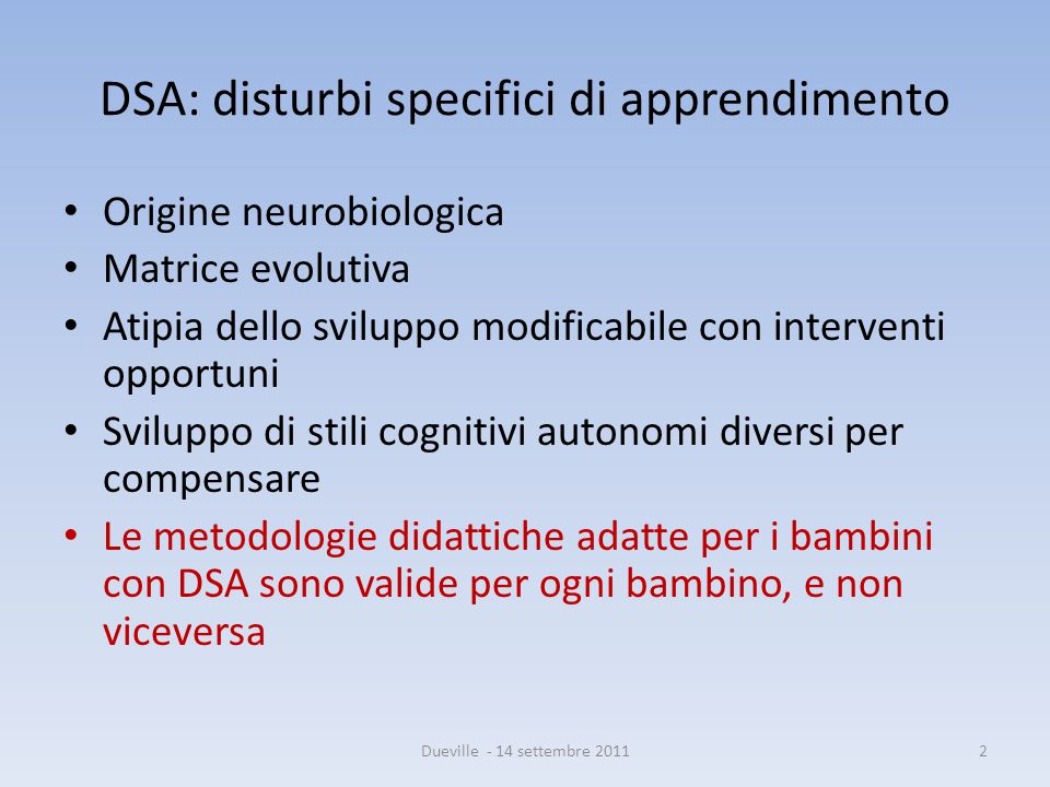 DSA: disturbi specifici di apprendimento