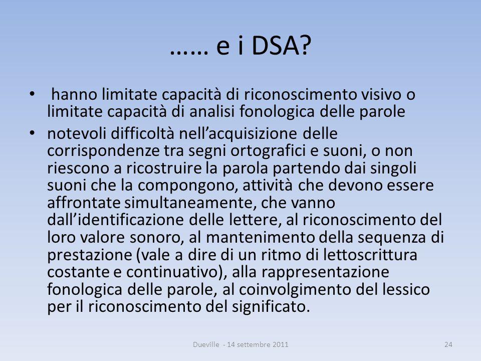 …… e i DSA hanno limitate capacità di riconoscimento visivo o limitate capacità di analisi fonologica delle parole.