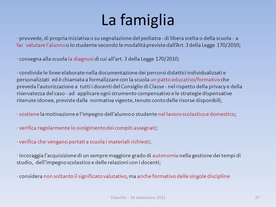 La famiglia · provvede, di propria iniziativa o su segnalazione del pediatra - di libera scelta o della scuola - a.