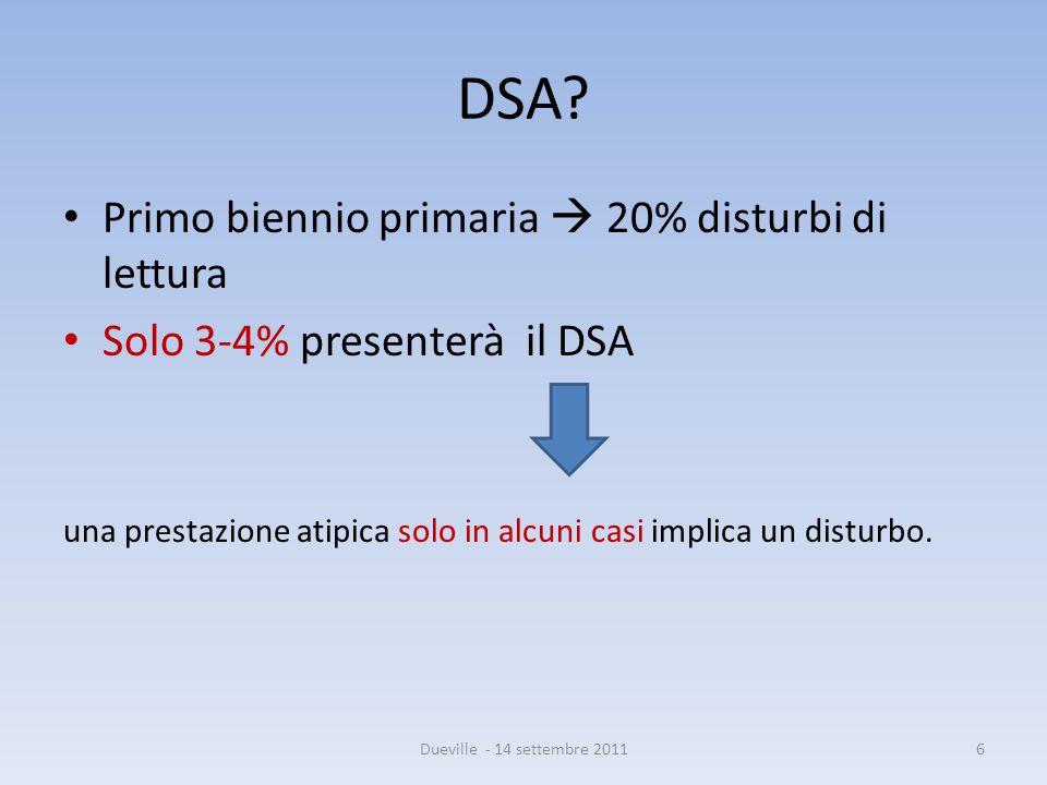 DSA Primo biennio primaria  20% disturbi di lettura