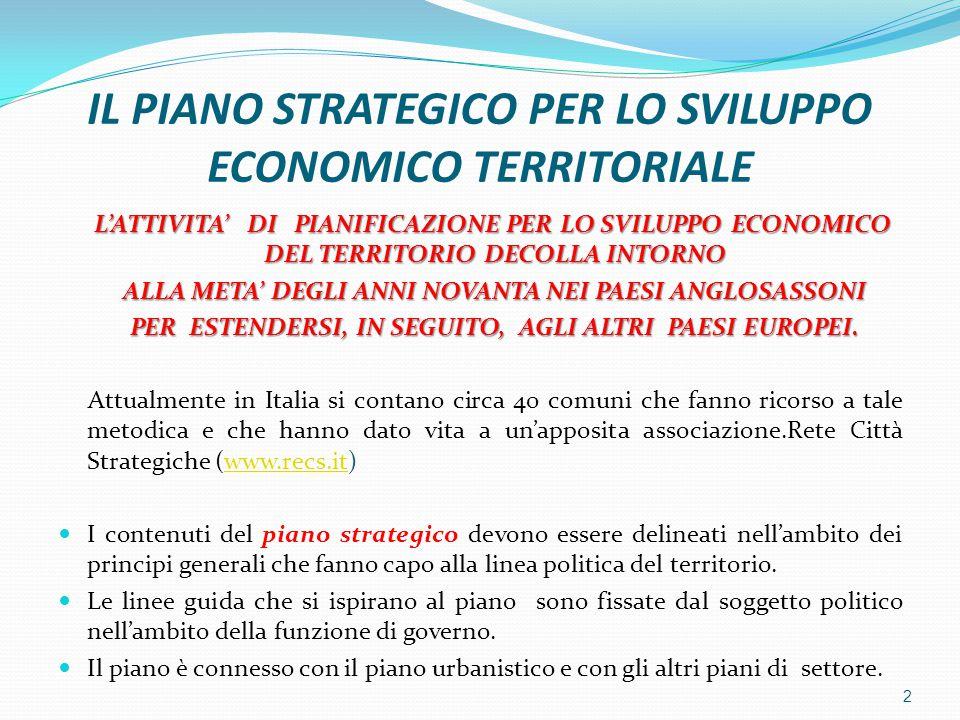 IL PIANO STRATEGICO PER LO SVILUPPO ECONOMICO TERRITORIALE