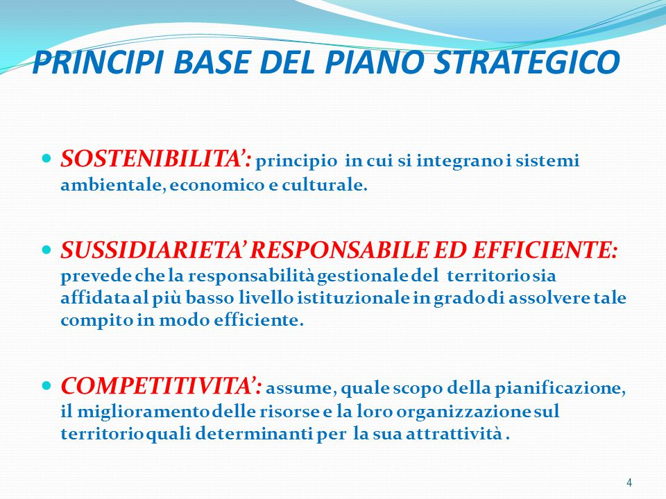 PRINCIPI BASE DEL PIANO STRATEGICO