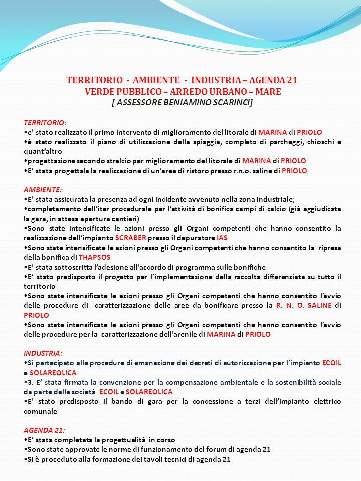 TERRITORIO - AMBIENTE - INDUSTRIA – AGENDA 21