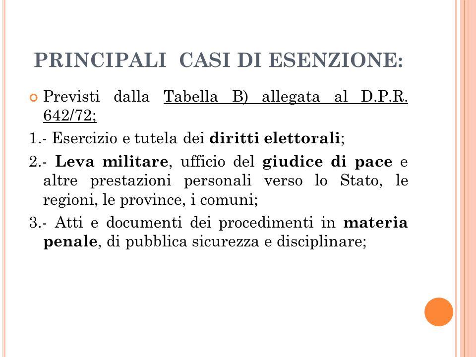 PRINCIPALI CASI DI ESENZIONE: