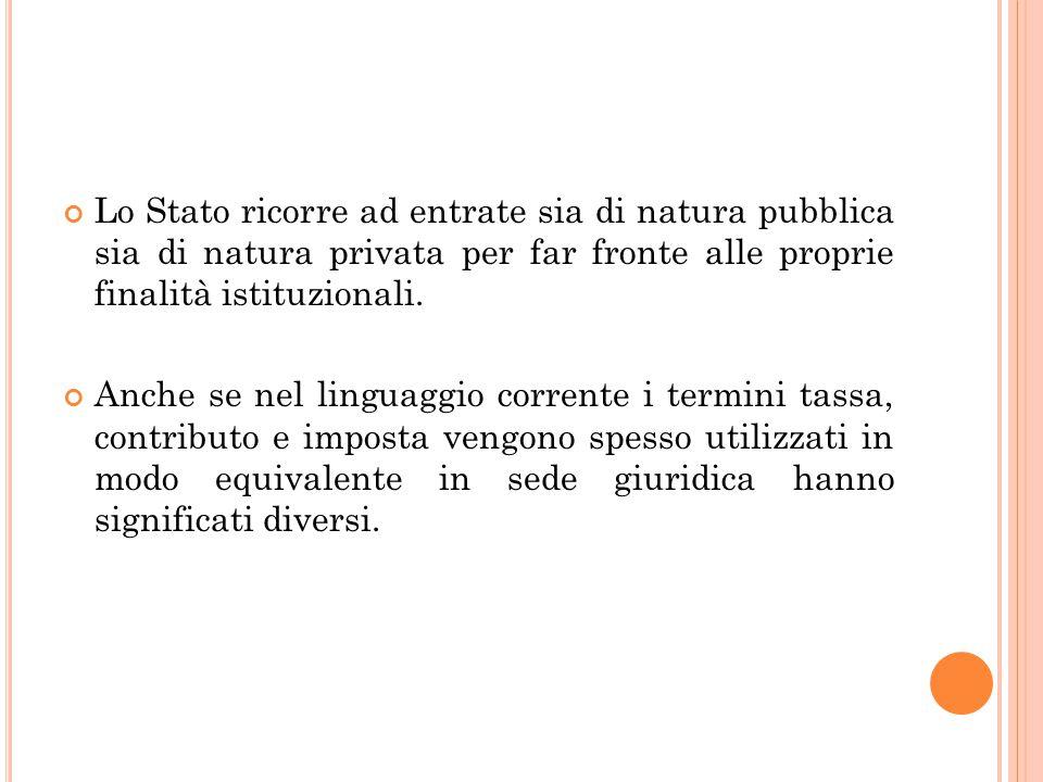 Lo Stato ricorre ad entrate sia di natura pubblica sia di natura privata per far fronte alle proprie finalità istituzionali.
